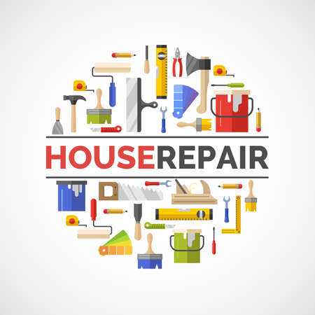 house building: Hand tools for home renovation and construction. Tools in a bright, flat style. Building and house repair. Roller, brush, paint, pencil, tool, hammer, tape measure, putty knife, pencil.