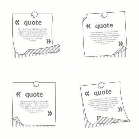 mention: Stick note isolated on white background. Template for quotation with quotation marks. Illustration
