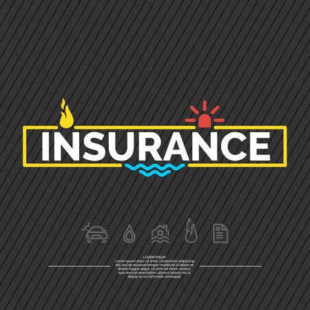 flood damage: Life insurance poster. Conceptual banner life insurance and property.