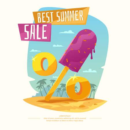 cool off: Original concept poster discount sale. Summer Sale banner.