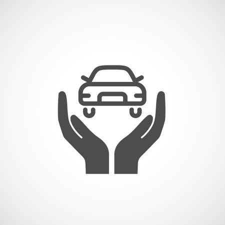 Icône d'assurance automobile. signe Silhouette Vecteurs