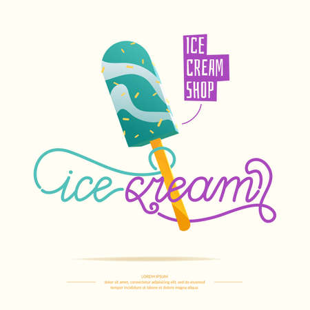 dairy product: Bright illustration of ice cream. Isolated illustration of a dairy product.