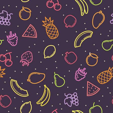 continental: Linear modern seamless pattern fruits. Vector illustration.
