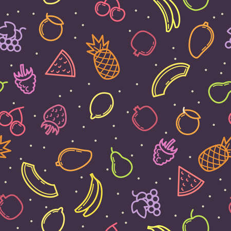 Linear modern seamless pattern fruits. Vector illustration.