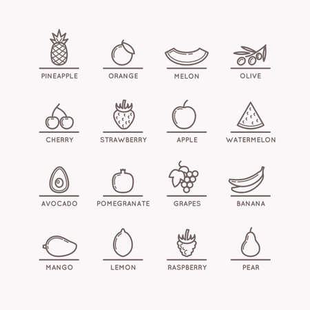 Linear icons of fruits. Silhouette images of products and food. Vector illustration.