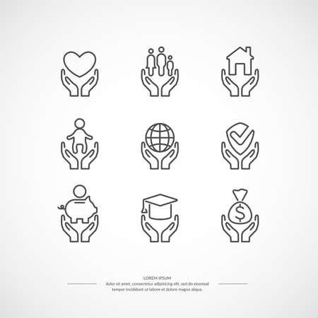 Set of linear icons support and care. Set conceptual icons life insurance and property. Illustration