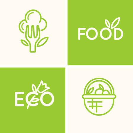 eco flowers basket: Set modern minimalistic Illustration