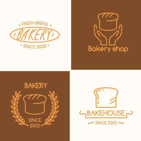 bakery oven: Set of vector illustrations with wheat, text and baked goods for the bakery and shop in a linear fashion. Perfect for menu, poster, advertising, website design, template, logo.