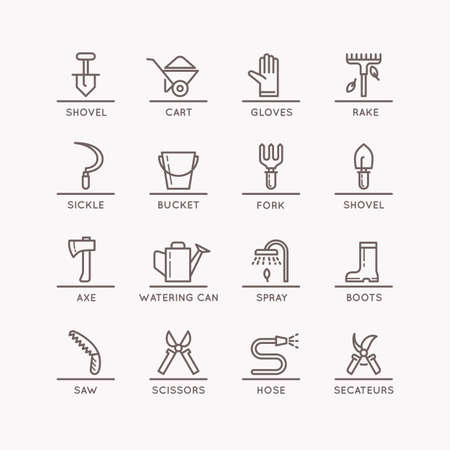 pail tank: Vector linear icons of garden tools in the background. Set of isolated icons of garden and work tools. 16 objects of gardening.