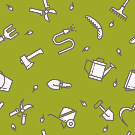 pail tank: Seamless pattern with tools for the garden. Signs and symbols of gardening. Garden tools in the background.