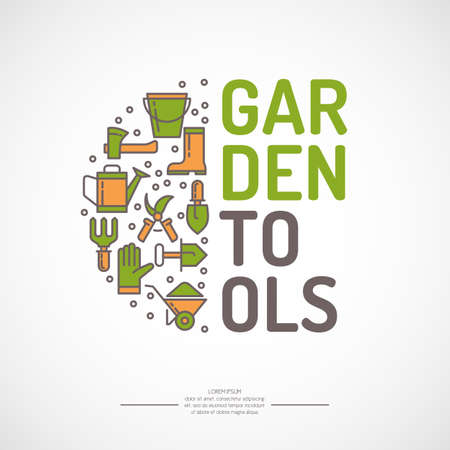 pail tank: Poster with tools for the garden. Signs and symbols of gardening. Garden tools in the background. Illustration