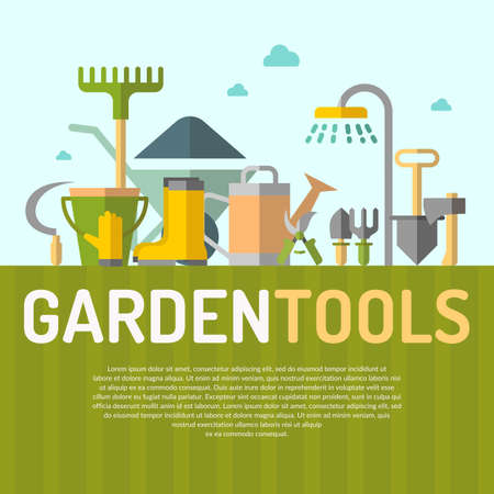 gardening tools: Poster with tools for the garden in flat style. Signs and symbols of gardening. Garden tools in the background. Illustration