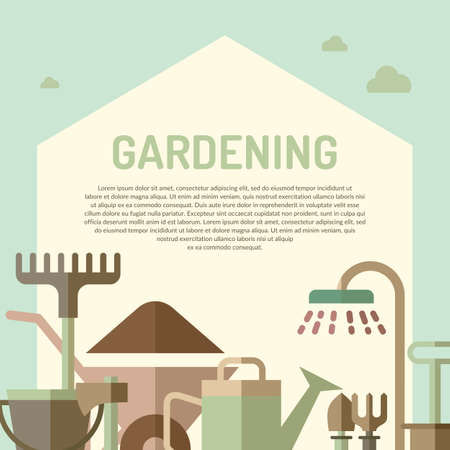 pail tank: Poster with tools for the garden in flat style. Signs and symbols of gardening. Garden tools in the background. Illustration