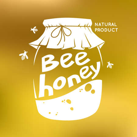 illustration for advertising: A jar of honey. Illustration for advertising honey. Bees and honeycombs. The inscription bee honey. A natural product of beekeeping. Illustration