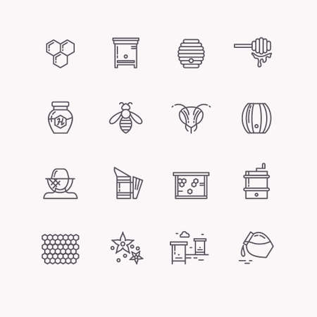 beekeeper: Set of linear icons beekeeping, bees, honey, beekeeper tools.