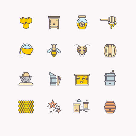 hives: Set of linear icons beekeeping, bees, honey, beekeeper tools. Vector symbols of bee honey and bee products. Illustration, bee hives, barrels, jars, honey comb and flower.