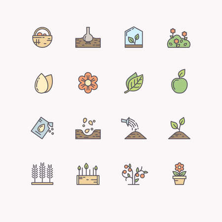 Set of isolated vector line icons for gardening.