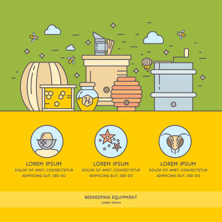 beekeeper: Posters with the tool for beekeepers. The background for the sale of honey. Tools of the beekeeper. The stickers on the products of the apiary.
