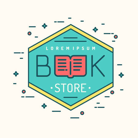 fairs: Modern line vector  of the bookstore or business. A bright sign for book fairs, library or exhibition. Illustration
