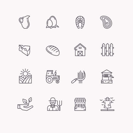 subsistence: Set flat icons of linear natural products. Icons farming and eco settlement, subsistence farming.