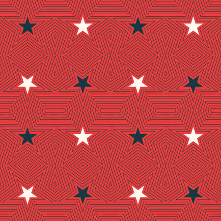 elemental: Geometric seamless pattern with stars in a flat linear style on red background. Stylish vintage background for textile design, flyers, postcards, banners, packaging and websites