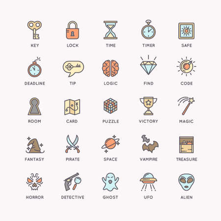 quest: Vector linear icons set for the quest room and room escape.