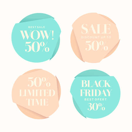 sales trend: Set of fashion stickers sales and discounts. Fashion trend group of posters with the text.