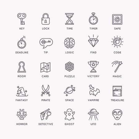 icônes Vector linéaires fixés pour la salle de recherche et salle évasion.
