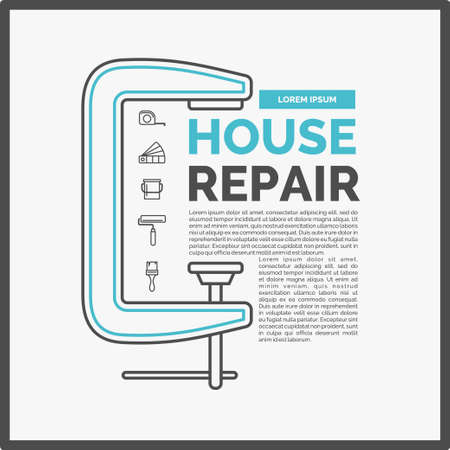 Vector illustration of house repair with a set of tools and a clamp in flat linear style on white background. ideal for shop advertising, website design, poster, leaflets Illustration