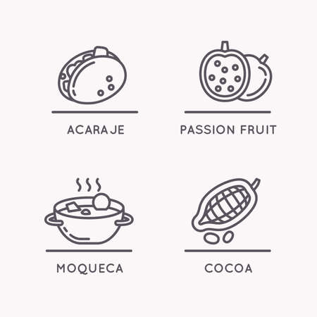 stuffing: Brazilian culture linear icons set. National food and fruit. Illustration