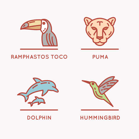 south america: Brazilian culture linear icons set. Animals Of South America Illustration