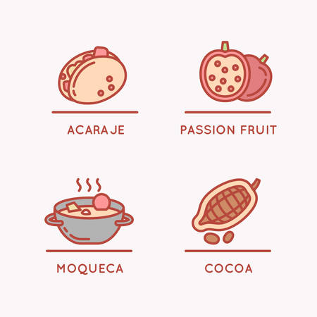 metal: Brazilian culture linear icons set. National food and fruit. Illustration