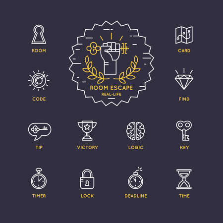 quest: Vector linear icons and  for the quest and room escape.