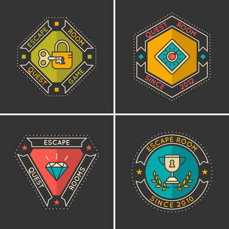 escape: Vector linear icons and  for the quest and room escape.