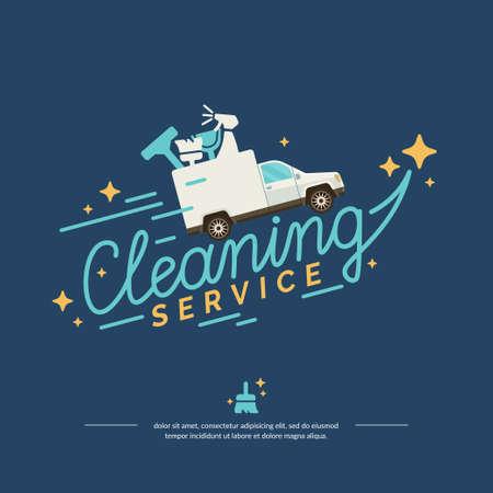 Vektor-Illustration für einen Reinigungsservice. Auto mit Werkzeugen auf blauem Hintergrund in flachen Stil geeignet für Werbung, Poster, Web-Design, Website