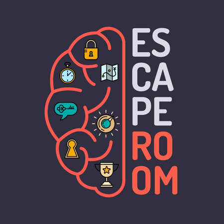 Real-life room escape and quest game poster. Stok Fotoğraf - 59948276