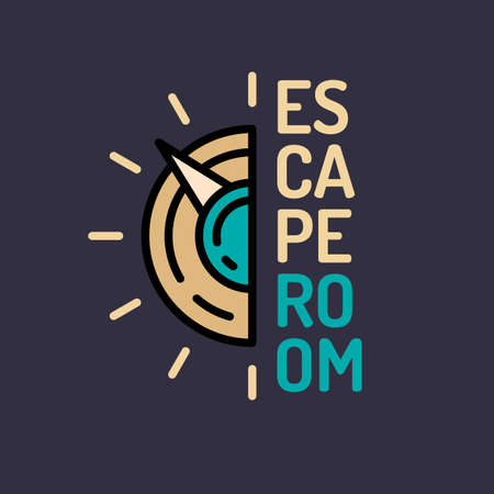 escape key: Illustration of the safe. Real-life room escape and quest game poster.
