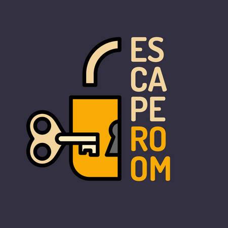 escape key: Illustration of lock and key. Real-life room escape and quest game poster.