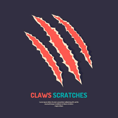 laceration: Isolated vector claws scratches. Silhouette of wounds and cuts. Illustration