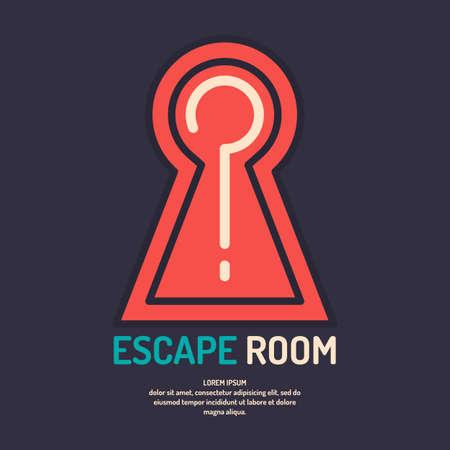 Salle de vie réelle évasion et affiche du jeu de quête. Vecteurs