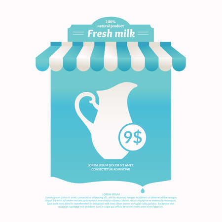 vitrine: Illustration of a stall for street trading dairy products. Background for advertising milk. Poster for the shop or website