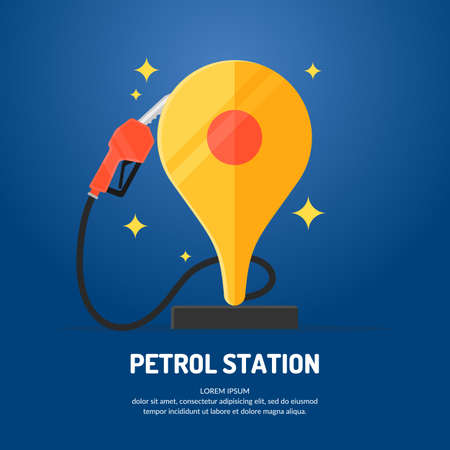Bright advertising poster on the theme of gas station. Vector illustration. Illustration