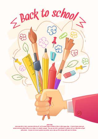 Zurück zur Schule Poser. Großer Verkauf von Schreibwaren für handgemachte im Cartoon-Stil. Waren für die Kinder Kreativität