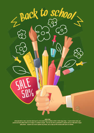 poser: Back to school poser. Big sale of stationery for handmade in cartoon style. Goods for children creativity