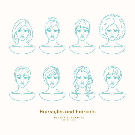 hairdo: Set of female faces with different hairstyles and haircuts Silhouettes of head for barber shop and beauty salon. Illustration