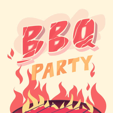 BBQ party, illustration in cartoon style. The grill and meat. Illustration