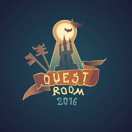 quest: Real-life room escape. The logo for the quest room i cartoon style.