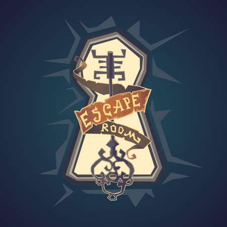Salle de vie réelle évasion. Le logo pour le style de dessin animé i salle de quête.