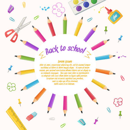 the children s: Circle of pencils on a white background. Set of stationery for school, office and craft in cartoon style. Goods for children s creativity.