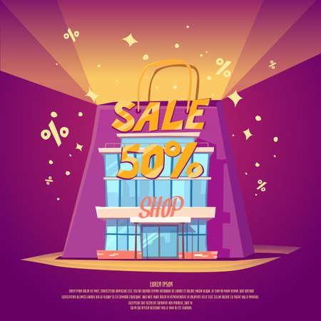 illustration for advertising: Best offer. Big sale in the store. Illustration for advertising, design and web.